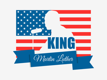 Martin Luther King day. I have a dream. MLK day. Greeting card with American flag. Vector illustration Illustration