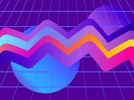 Liquid wave, violet gradient. Modern trend background. Synthwave, futurism background. Retrowave. Vector illustration