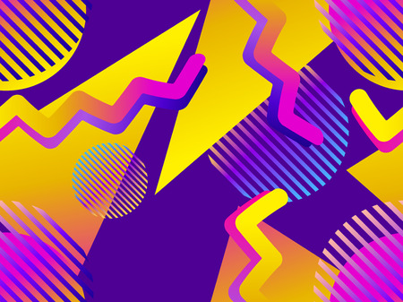 Seamless pattern with geometric objects in the memphis style of the 80s. Gradient shapes. Synthwave retro background. Retrowave. Vector illustration Illustration