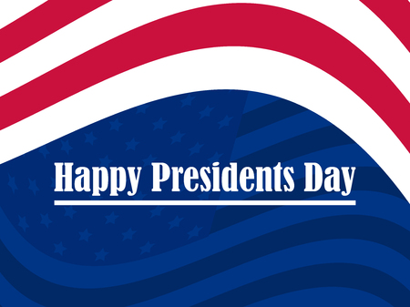 Happy Presidents Day. Greeting card with red and white stripes. American flag. Vector illustration Illustration