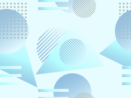 Geometric seamless pattern. Geometric shapes with gradient, memphis style. Zine culture abstract background. Vector illustration Illustration