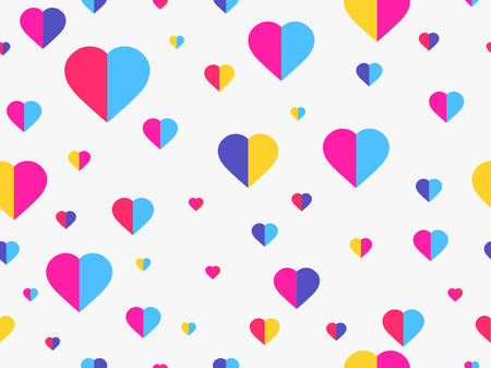 Hearts seamless pattern. Happy Valentines day, 14th of February. Vector illustration