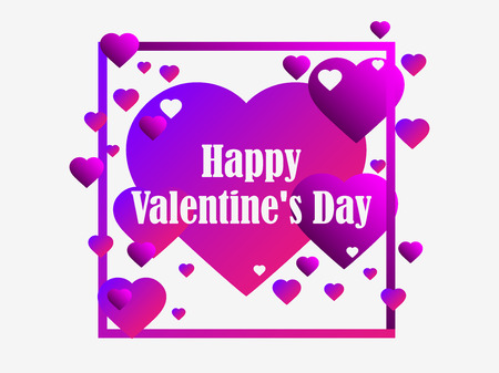 Happy Valentines Day, 14th of February. Greeting card background with hearts and frame. Vector illustration
