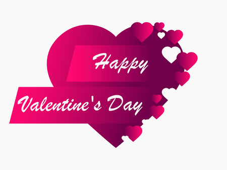 Happy Valentines day, 14th of February. Greeting card with hearts. Vector illustration