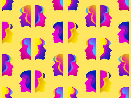 Seamless pattern of female faces with gradient. Zine culture colorful background. Futurism retrowave. Vector illustration Illustration