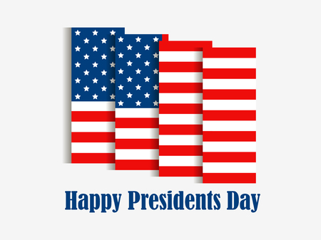 Happy Presidents Day. American flag with shadow on white background. Vector illustration Illustration