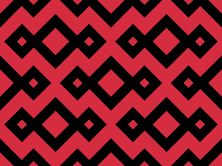 Zigzag seamless pattern with black and red color. Abstract geometric background. Vector illustration