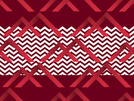 Zigzag seamless pattern with gradient red color. Abstract geometric background. Vector illustration  イラスト・ベクター素材
