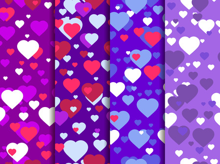 Hearts set of seamless pattern. Festive background for greeting card, banner and poster. Vector illustration