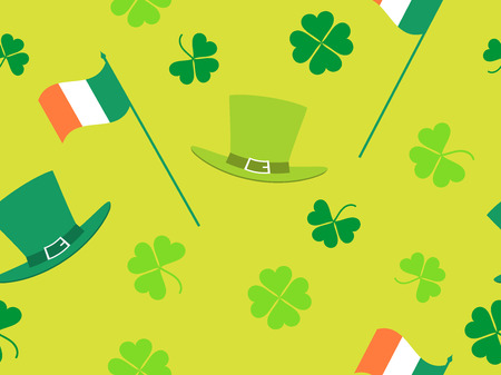 Seamless pattern with green clover leaves, Irish flag and leprechaun hat. Patricks Day background with shamrock. Vector illustration