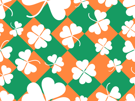 Seamless pattern with clover leaves. St. Patricks Day background with shamrock. Vector illustration