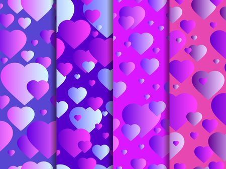 Seamless pattern with hearts. Happy Valentines day, 14th of February. Hearts with gradient. Vector illustration Illustration