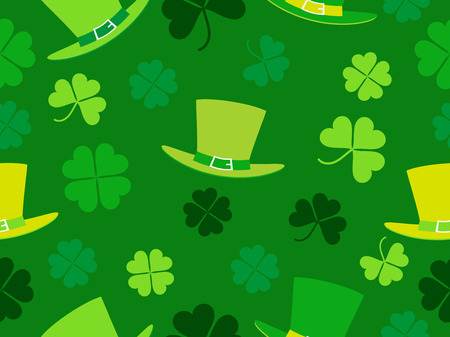 Seamless pattern with hat and clover leaves. St. Patricks Day background with shamrock. Vector illustration