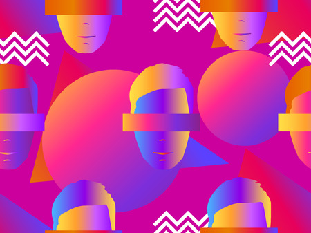 Seamless pattern of male faces with gradient. Zine culture colorful background. Retrowave. Vector illustration Illustration