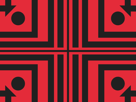 Abstract geometric seamless pattern in red. Simple lines in black. Vector illustration