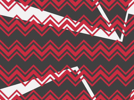 Zigzag seamless pattern with black and red color. Abstract geometric background with circles. Vector illustration