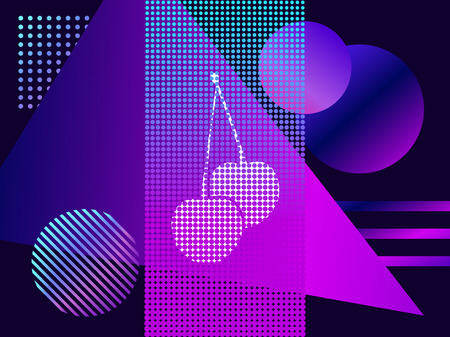 Modern trend background. Cherries with dots and gradient. Synthwave, futurism background. Retrowave. Vector illustration