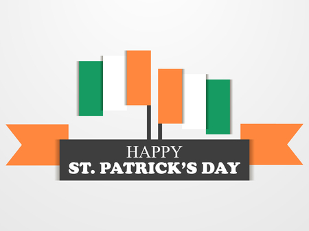 St. Patricks Day. Irish flag on white background. Cut out of paper with shadows. Vector illustration