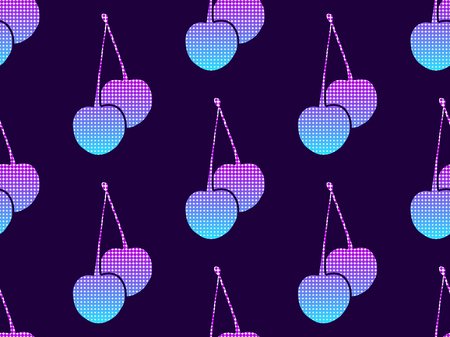 Cherries with a gradient and dots in the style of pop art, dotted points. Seamless pattern. Retrowave. Vector illustration