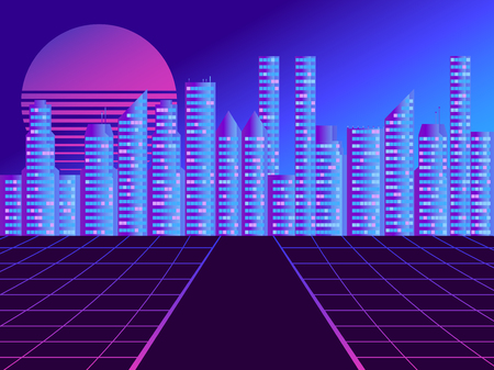Retro futuristic city in the style of the 80s. Cyberpunk and retro wave style. Cityscape of the future megapolis against the backdrop of the sunset. Vector illustration 일러스트