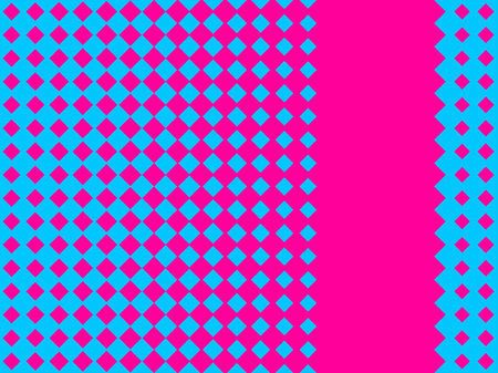 Halftone seamless pattern. Pop art rhombuses with pink and blue color. Vector illustration