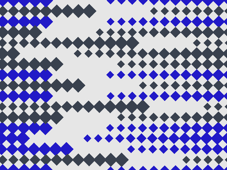 Halftone seamless pattern. Pop art rhombuses with black and blue color. Vector illustration