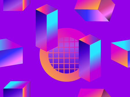 Geometric shapes in isometric style with gradient. Futuristic seamless pattern. Retrowave. Vector illustration