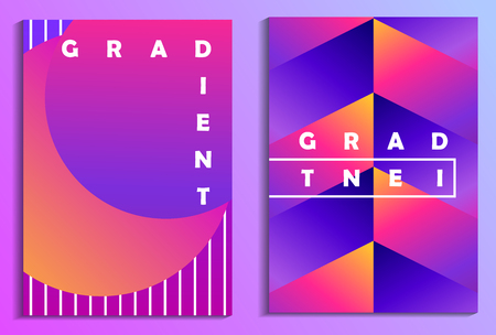 Colorful gradients poster set. Synthwave, futurism background. Retrowave. Vector illustration 일러스트