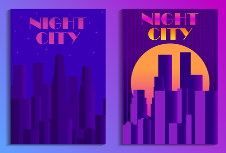Cityscape poster in futurism style. Night city of skyscrapers. Cyberpunk and retrowave. Vector illustration