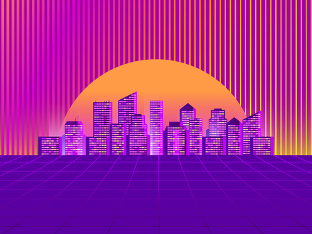 Retro futuristic city in the style of the 80s. Cyberpunk and retrowave style. Cityscape of the future megapolis against the backdrop of the sunset. Vector illustration