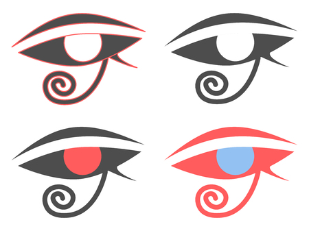 Eye of Horus. Ancient Egyptian amulet symbol. Set of icons on a white background. Vector illustration