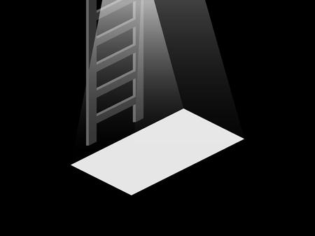 Luz de la puerta abierta al sótano. Escaleras desde el sótano hasta la cima. Ilustración vectorial