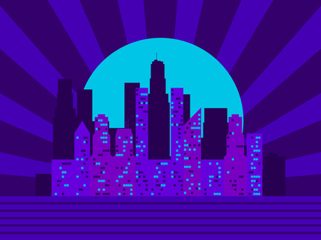 Cityscape with skyscrapers in the style of the 80s. Retro futurism. City sunset. Light in the windows. Vector illustration Illustration