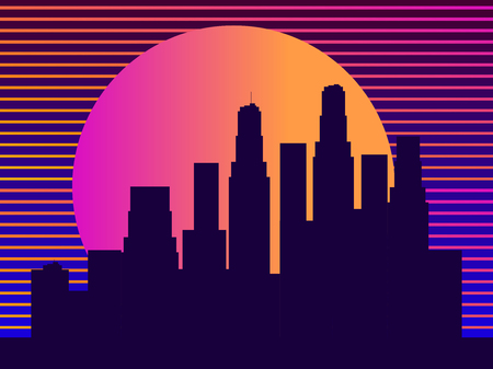 Cityscape with skyscrapers in the style of the 80s. Retro futurism. City sunset. Light in the windows. Vector illustration Ilustração