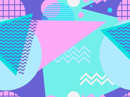 Memphis seamless pattern. Geometric elements memphis in the style of 80s. Vector illustration Ilustração