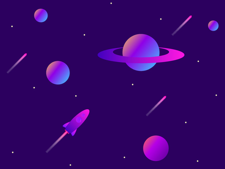 Open space. Planets, meteors and space rocket. Space exploration. Modern trend gradient. Vector illustration