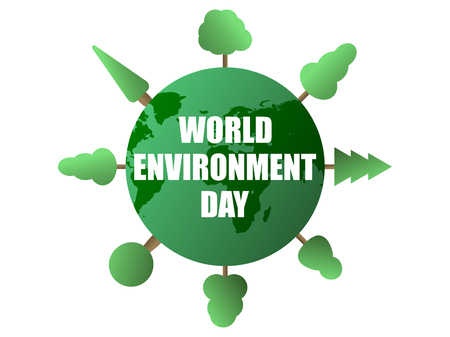 World environment day. Green planet and trees isolated on white background. Eco poster.