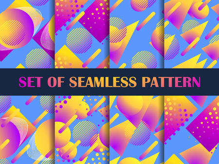 Set of seamless pattern with colorful liquid shapes. Geometric elements with gradient. 일러스트