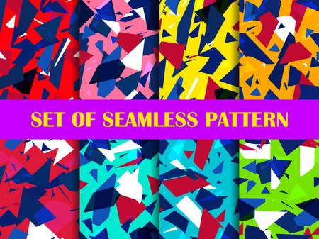 Glass explosion seamless pattern set. Broken particles. Colorful scatters of particles. Geometric shapes.