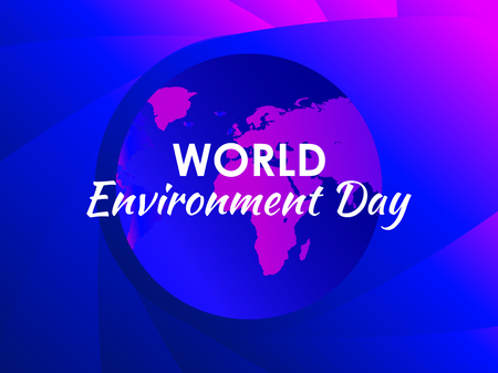 World environment day. The purple gradient of planet earth, modern eco poster. Colorful liquid shape.