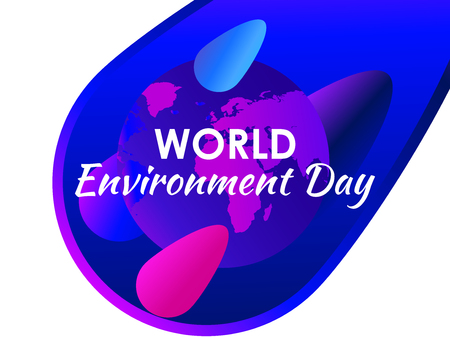 World environment day. Purple gradient of planet earth, modern eco poster. Colorful liquid shape. 일러스트
