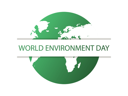 World environment day. Green planet isolated on white background. Eco poster.