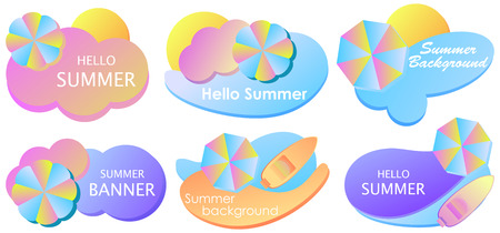 Summer liquid gradient banner set. Colorful fluid shapes isolated on white background. Beach umbrella and sea in material design style. 일러스트