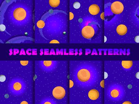 Space seamless pattern set. Background with planets and stars, nebula. Illustration