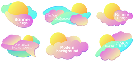 Fluid gradient design modern banner set template. Colorful liquid shapes isolated on white background.