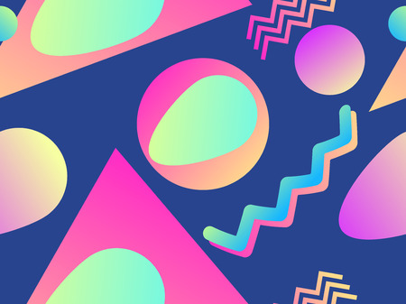 Geometric seamless pattern in memphis style of the 80s. Fluid gradient shapes. Banco de Imagens - 124992984