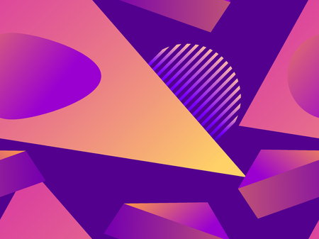 Geometric pattern in memphis style of the 80s. Fluid gradient shapes. Illustration