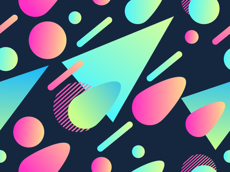 Geometric seamless pattern in memphis style of the 80s. Fluid gradient shapes.