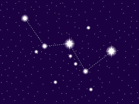 Cassiopeia constellation. Starry night sky. Vector illustration