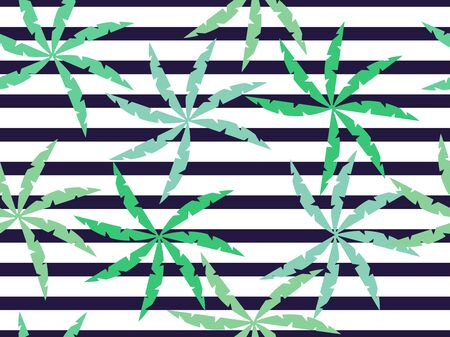 Palm leaves on a striped seamless background. Summer pattern. Vector illustration